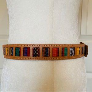 GUATEMALAN Woven Fabric & Brown Leather Belt